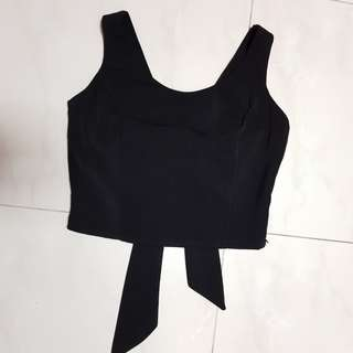 [CLEARANCE] Black Bow Tie Back Design Crop Sleeveless Top