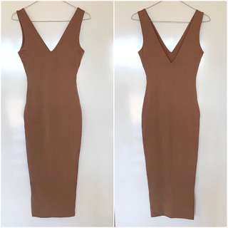 BNWT Meshki Nilda Bodycon Midi Dress - Mocha