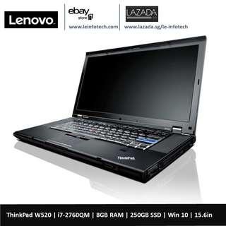 🚚 Lenovo ThinkPad W520 15.6in i7-2760QM #2.4Ghz 8GB DDR3 RAM 250GB SSD nVidia Quadro M1000 2GB Graphics card Win 10 Pro