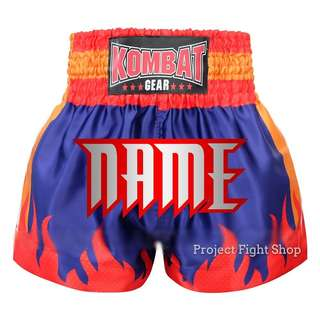 Customize Kombat Gear Muay Thai Boxing MMA Shorts Blue w Red Stars Fire Flames