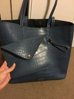 Topshop blue crocodile tote and matching satchel