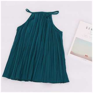 Teal pleated top