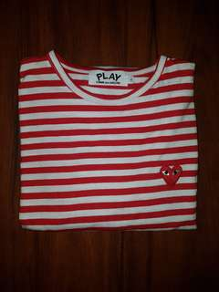 Red&White stripped comme des garçons shirt