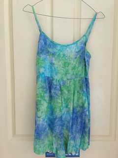 Tie dye blue green beginning boutique playsuit XS