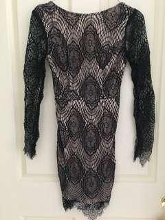 BNWOT Black lace long sleeve dress SIZE 6