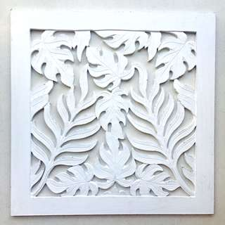 Balinese Wood Carving - Square Foliage Panel in White