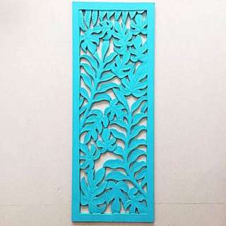 Balinese Wood Carving - Rectangular Foliage Panel in Aqua