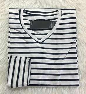 Kaos stripee tee panjang putih navy