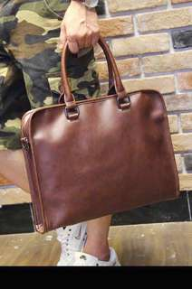 "✔️INSTOCK! Formal Brown 15.6"" Laptop Bag - Pu Leather Brown Briefcase Laptop Bag - Korea Mens Office Laptop Bag"