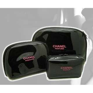 Last Instock! CHANEL Make-Up Storage Black Pouches (Set of 3s) ASC3111 *GWP* + Free Post!