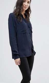 VILA navy button up blouse size xs