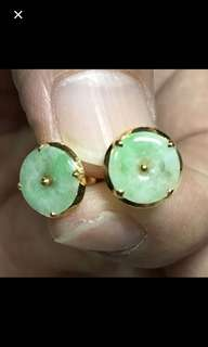 20K/850 Yellow Gold {Women's Jewelry - Jade Earrings} Beautiful Vintage Solid 20K/850 Yellow Gold Peranaken Authentic Old Jade 老坑玉 Earrings
