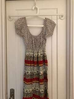 Floral off shoulder dress!! vintage!!