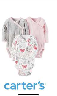 Carter's snap suit pink butterfly grey 12 mth