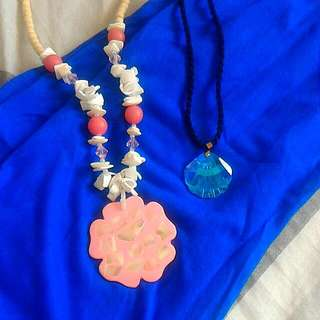 Real Shell Flower Necklace And Shell Crystal Pendant Necklace