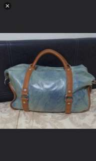 Real Leather trim canvas hand carry/ Sling Bag