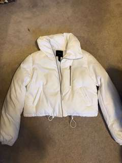 White Cropped Forever21 Puffer Jacket
