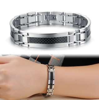[SALES]🔱SIMPLISTIC STAINLESS STEEL CHARM BLACK PLATE DESIGN TRENDY MEN STAINLESS STEEL BRACELET CLASSIC JEWELRY🔱