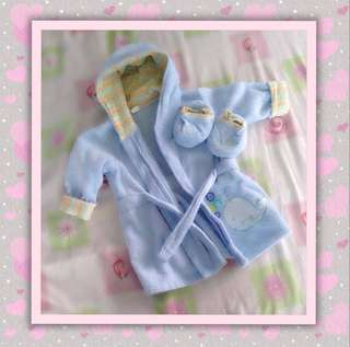 Baby Bathrobe with Matching Slippers