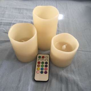 Colourful light up candles