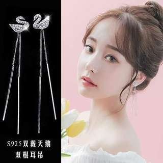 S925 Silver Dual Type Of Wearing Swan Double Thread  Earrings