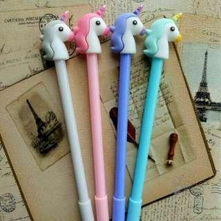 Pulpen gel karakter unicorn 1set/4pcs