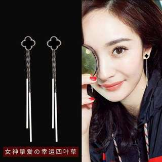 S925 Silver Trendy 2 Types Of Wearing Double Thread 4 Clover Leaves Earrings