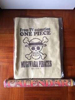 One piece麻布袋+2008年月曆