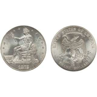 1875 S Trade Dollars : Type 1 Reverse Early Silver Dollars