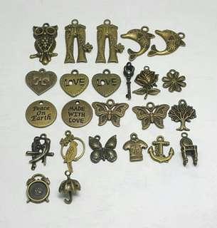 FREE - 24 pcs Antique Bronze Charms