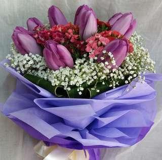 Tulip Hand Bouquet | Purple Tulip | Anniversaires