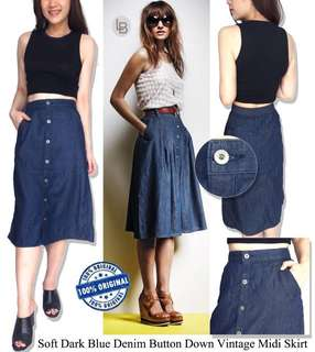Earth Soft Rok Denim Rok Vintage Midi Skirt Denim Rok Midi