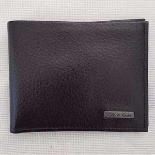 BN Calvin Klein CK Men's Bifold Slim Leather Wallet in Cowhide Pebbled Leather (Black)
