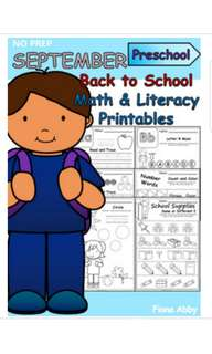 Back to School Worksheets for Preschool - pdf