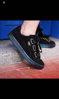 BLACK PUMA SUEDE HEART w SATIN LACE