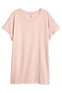 h&m long shirt peach