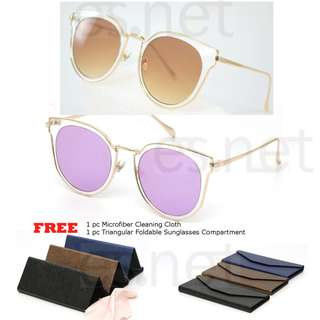 Merciz Women Men Korean Hipster Sunglasses Cat Eye Mirror Reflective Lens Classy Metal Frame