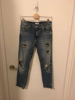 Zara Ripped Blue Jeans