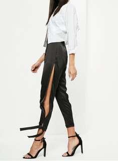 Black Satin Tie up Pants