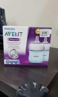 NEW Avent 2 feeding bottles 125 ml/4 oz for 0 months +