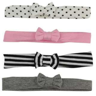 Koala Kids 4 Pack Assorted Headwraps with Bow Detail