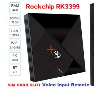 X99 RK3399 4G RAM 32G ROM SIM CARD VOICE INPUT REMOTE 4K UCD TYPE-C USB 3.1 DUAL WIFI BLUETOOTH 4.1