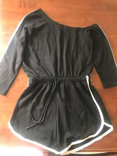 Black with white Piping off shoulder Playsuit