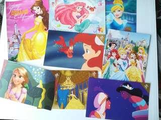 Disney princess postcard post card 公主 美人魚 明信片 名信片 阿拉丁 灰姑娘 長髮公主 美女與野獸 rapunzel belle beauty and the beast cinderella Aladdin