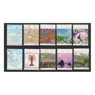 JAPAN 2016 G7 ISE-SHIMA SUMMIT (SCENERY) COMP. SET OF 10 STAMPS IN FINE USED CONDITION
