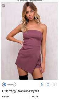 Mauve strapless playsuit