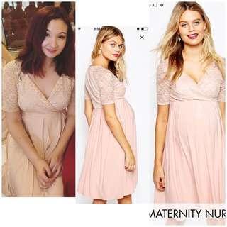 ASOS maternity / nursing lace wrap dress in pink/ dusty pink