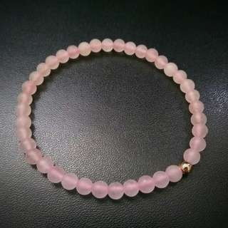 🚚 4mm Frosted / Matte Rose Quartz Bracelet with Rose Gold Plated Bead, Women Bracelet, Dainty and Petite, Girl friend Bracelet