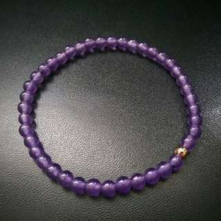 🚚 4mm Purple Chalcedony Bracelet with Rose Gold Bead, Women Bracelet, Chalcedony Bracelet