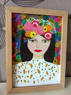 Woman with flower headpiece Painting